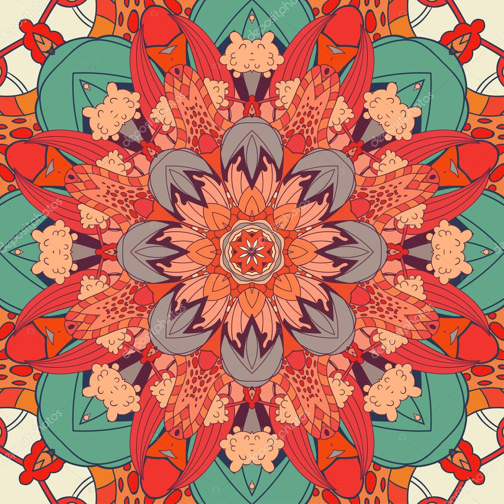 floral, ornamental background. East, old ornament with filigreed lines. Stylized medieval mosaics. Oriental, bright, rich pattern in classic colors.