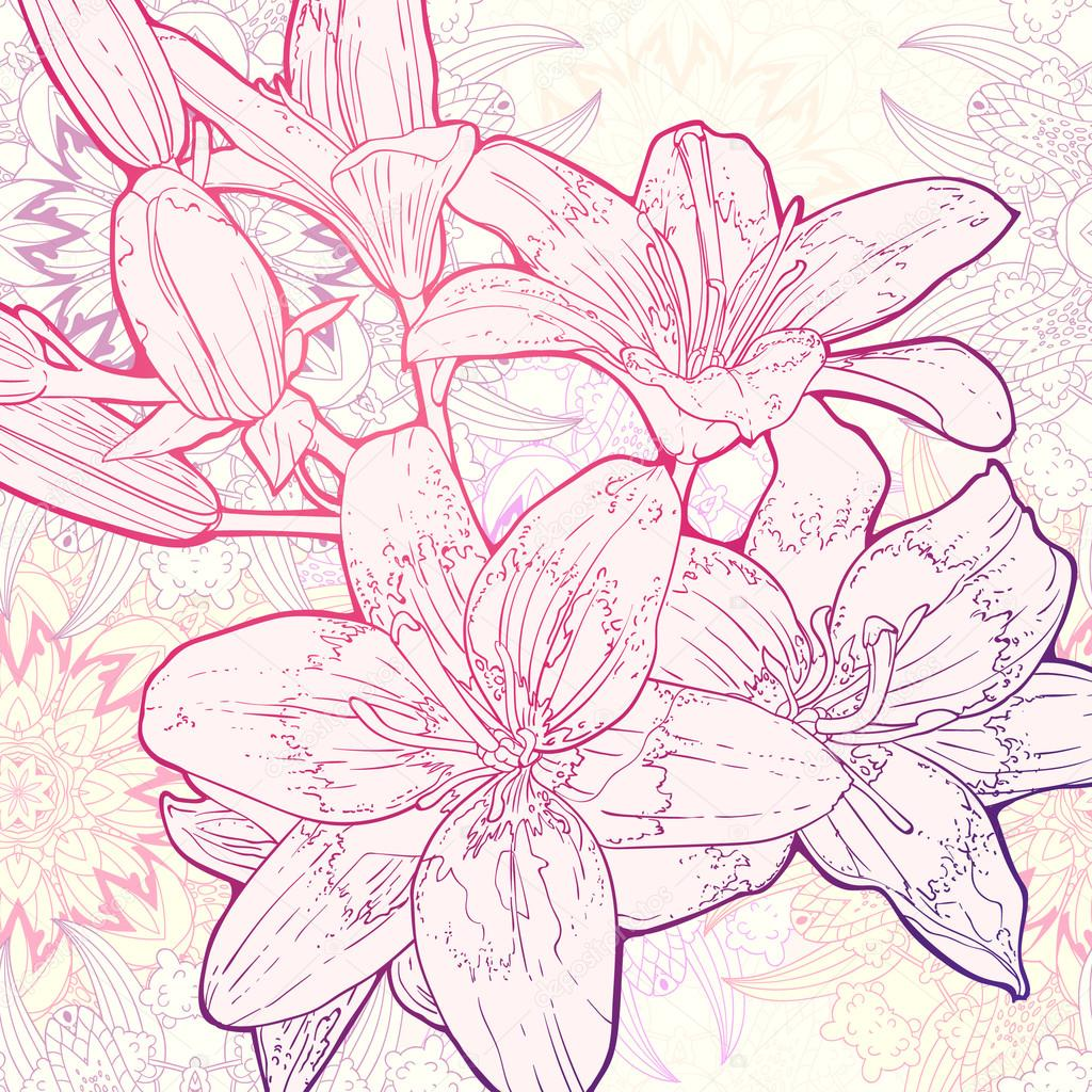 Vector hand drawn lineart illustration of Lily flowers on mandala background