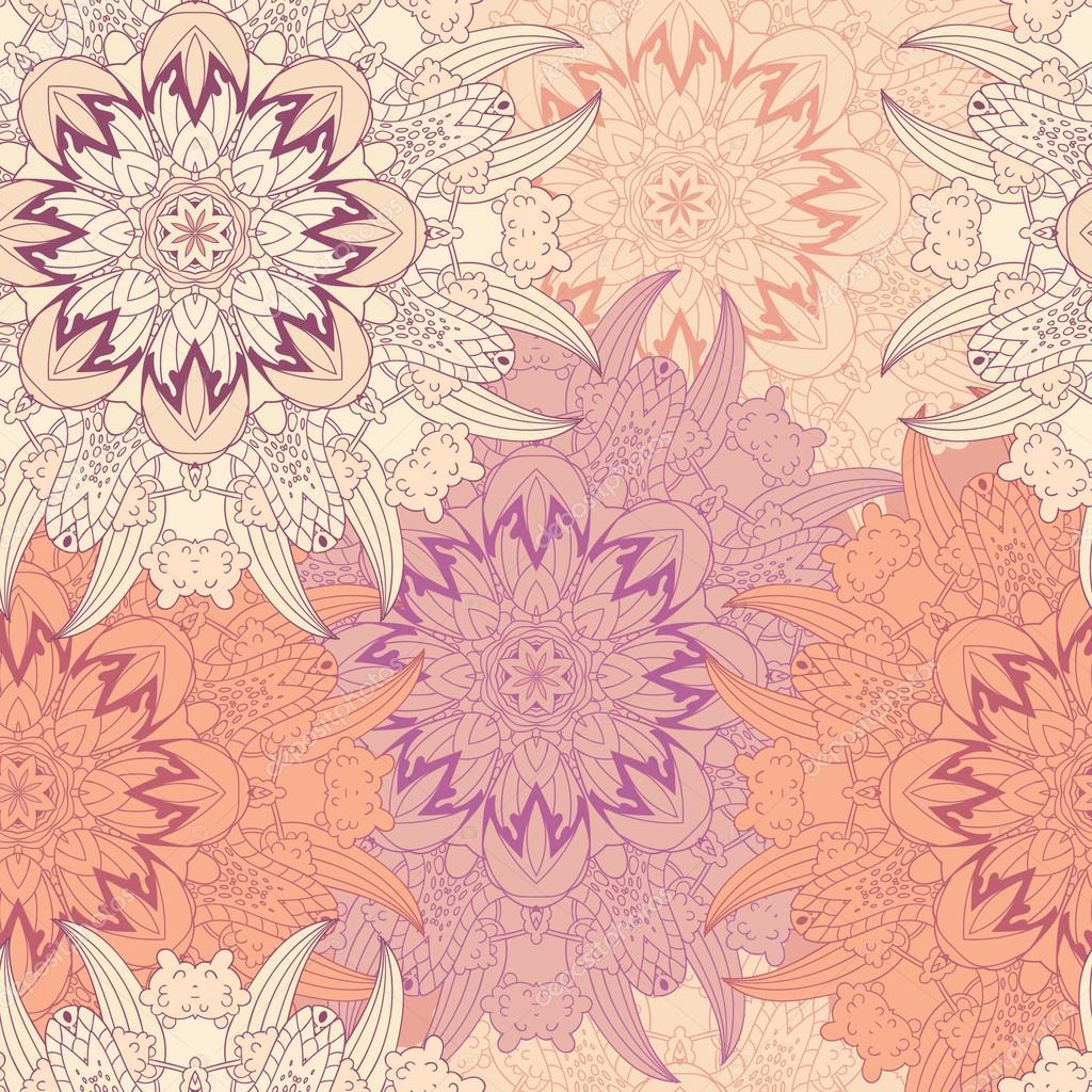 Seamless vector pattern. Vintage decorative elements. Hand drawn background with mandala in light colors