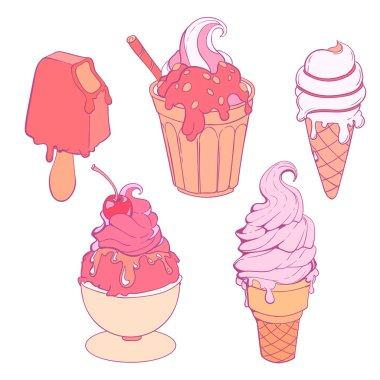 soft pastel colors hand drawn set of ice creams