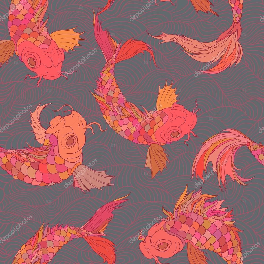 vrctor background of rainbow carp pattern. Seamless oriental texture with isolated hand drawn fishes.