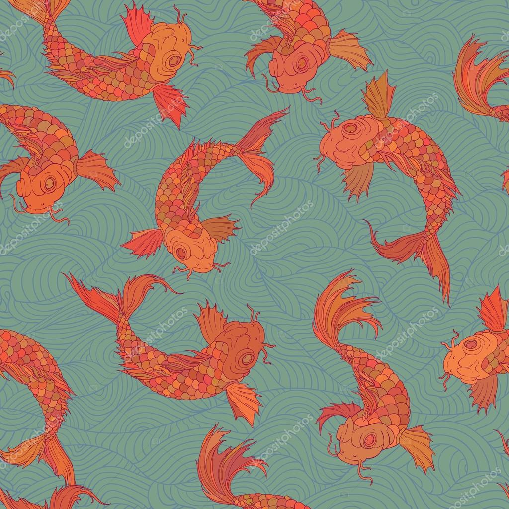 rainbow carp pattern. Seamless oriental texture with isolated hand drawn fishes. Underwater wildlife repeating background in vector.