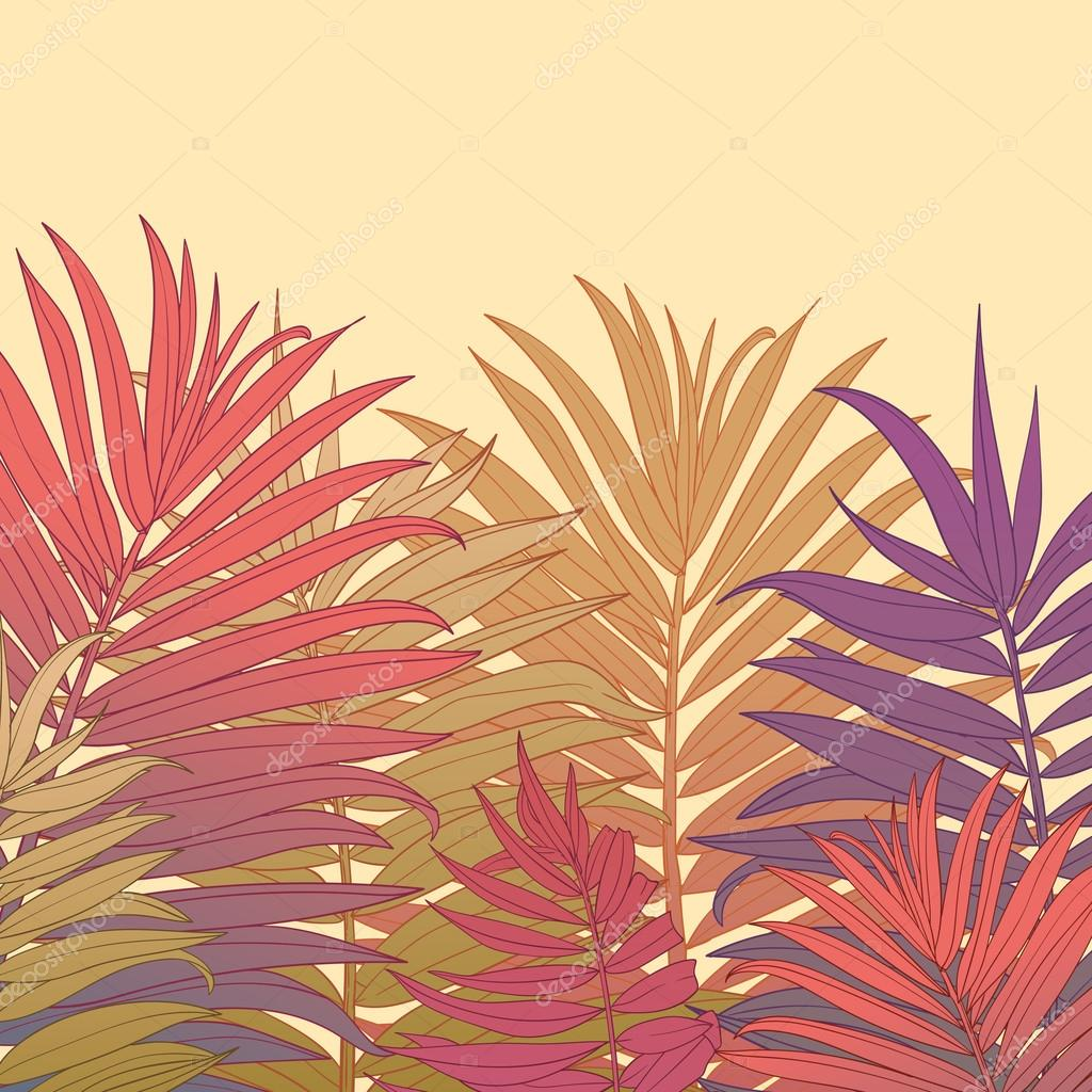 Vector Hand Drawn Palm Tree Leaves Background Template Stock