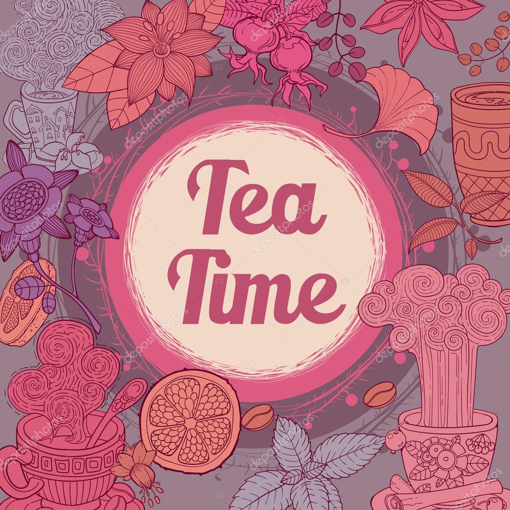 Menu for restaurant, cafe, bar, coffee house, hand drawn sketch illustration. Tea time vintage template. pink and brown colors
