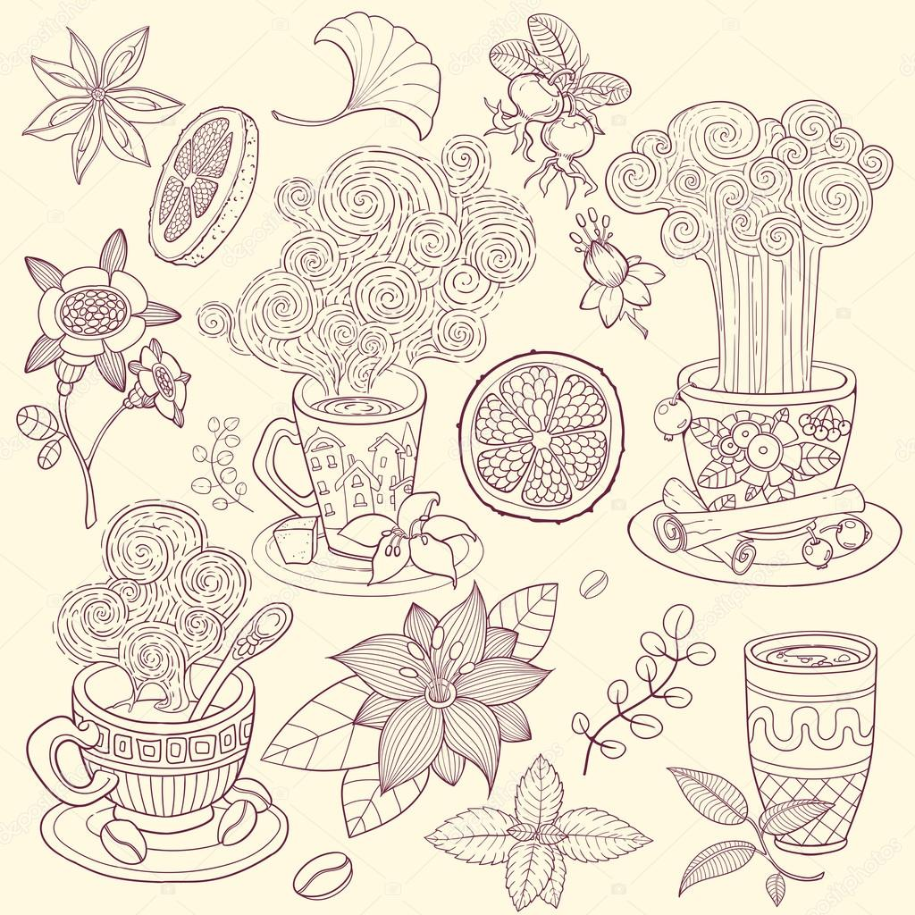 tea time scrapbook set vintage vector illustration