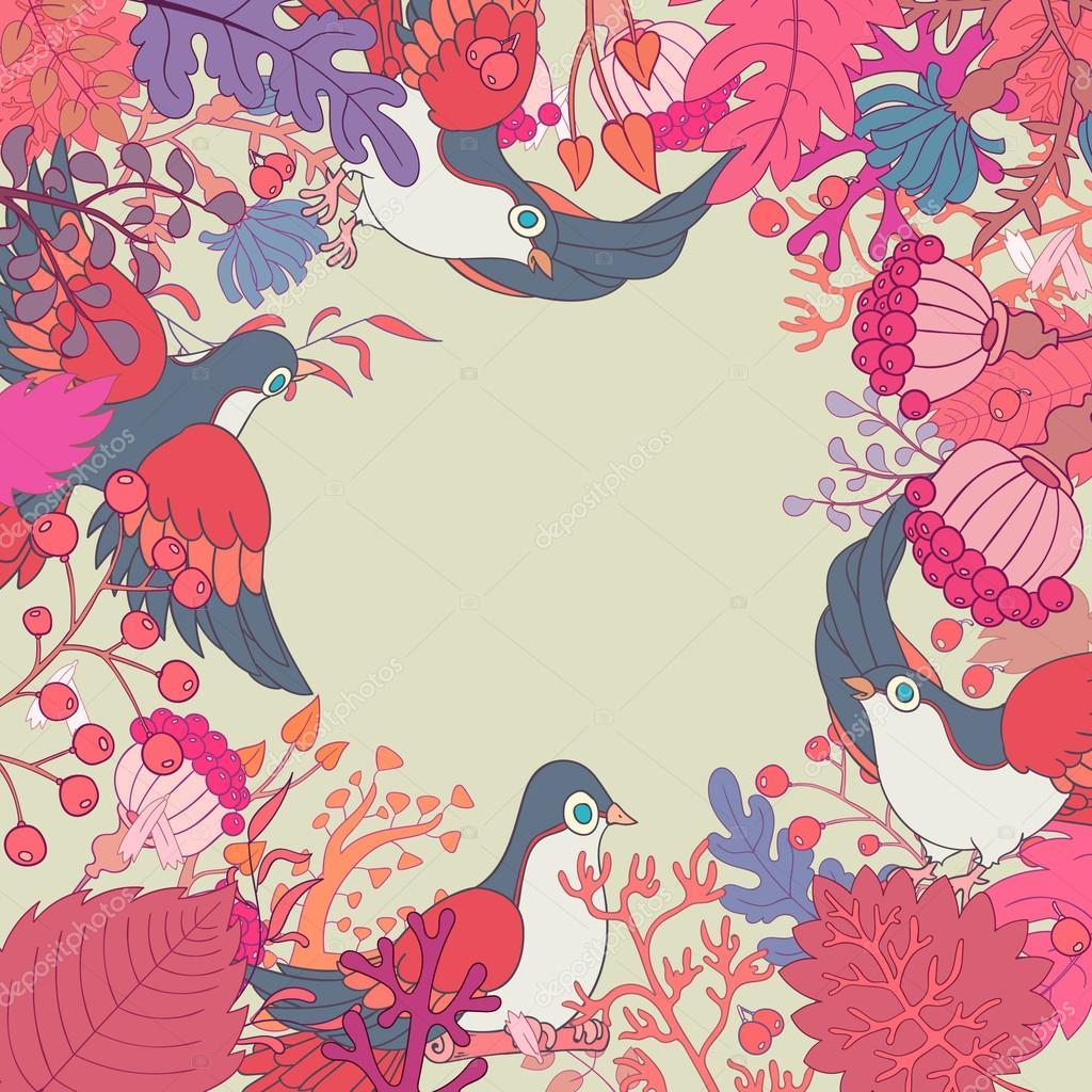 Vintage plantas flores y aves marco ilustración de vector abstracto ...