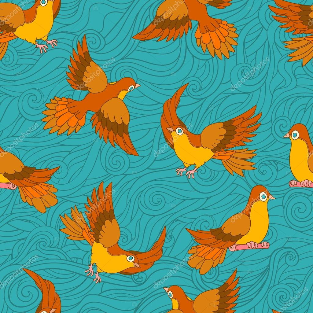 Cute pattern with birds, on blue wave background. Seamless pattern can be used for wallpapers, pattern fills, web page backgrounds, surface textures. vector hand drawn illustration