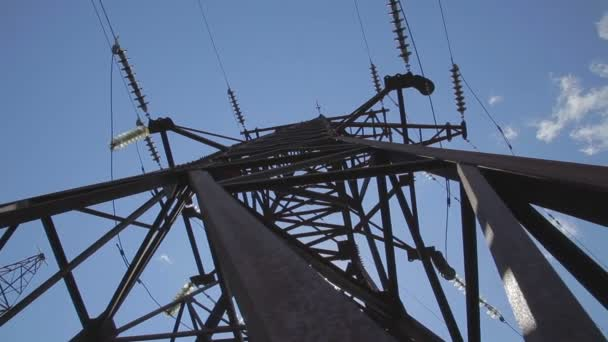 High voltage power line. High voltage tower. - Stock Footage