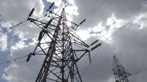 High voltage tower with sky background - Stock Footage