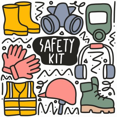Hand drawn doodle various safety kit with icons and design elements icon