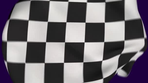 Karierte Flagge zerknittert Stoff Intro. Feiern. Meisterschaft. Sieger. Realistische Animation 4K. Hintergrund.