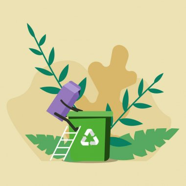 Carton of milk is placed in the waste basket. Waste recycling concept. Illustration of the correct recycling of garbage. icon