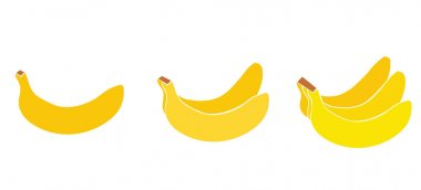 Vector Set of fruits  - a banana, couple of bananas, a bunch of bananas - color icons on white background  images. Illustration isolated, easy to edit and ready to use icons. A vector collection icon