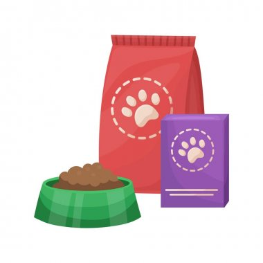 Pet food. Food for cats and dogs. Bowl and packaging. Vector flat illustration icon