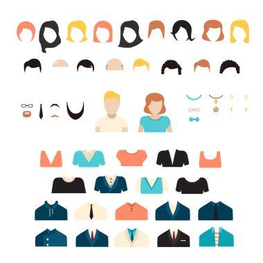 Big girl nd boy stylish kit, vector avatars constructor