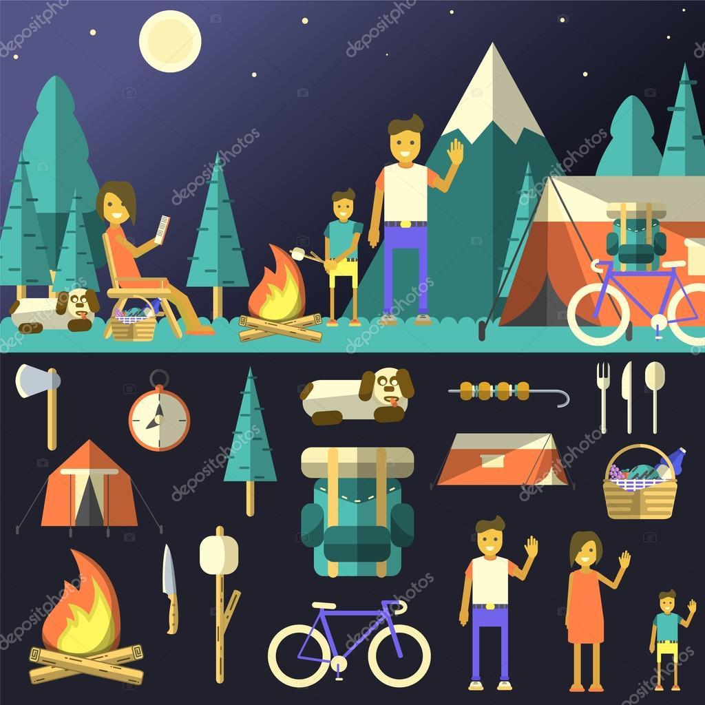 Camping vector illustration.
