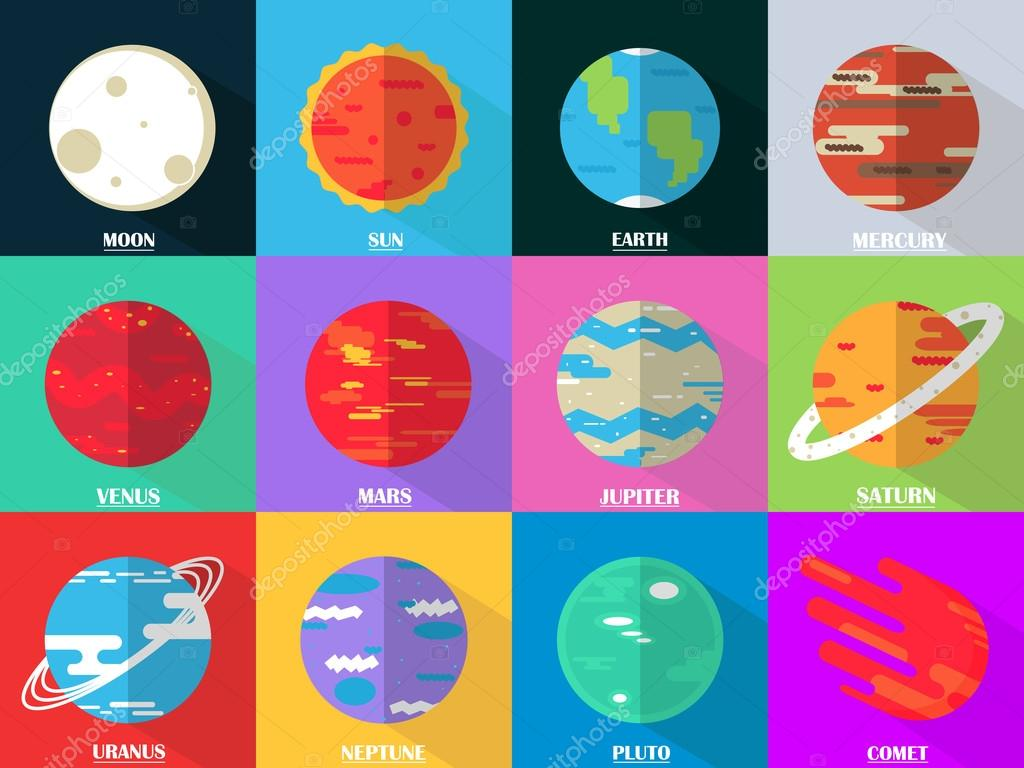 Flat design icons set - planets with names.