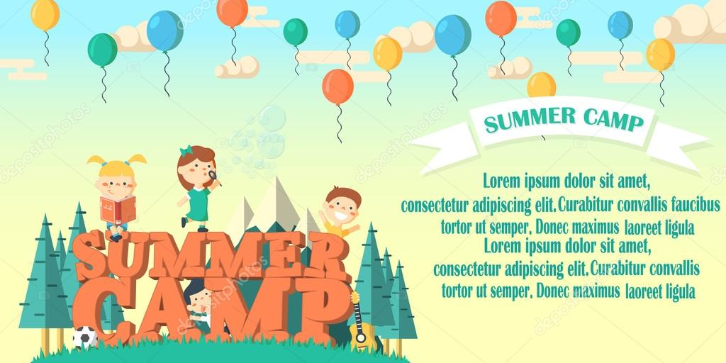 Summer camp flier vector illustration.