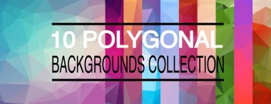 Ten vector polygonal backgrounds collection.