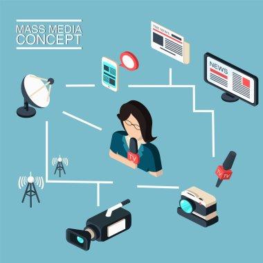 Mass media journalism broadcasting news cast concept