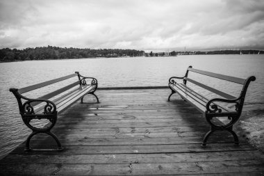 Benches and water