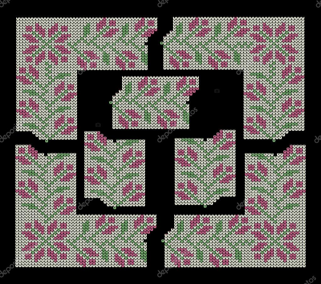 Set To Create Decorative Knitting Borders And Frames Floral Pattern