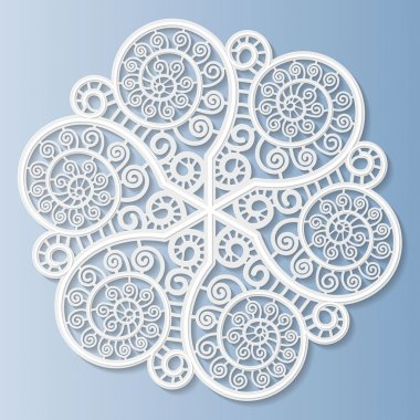 Lacy paper doily, decorative flower, decorative snowflake, mandala, embossed pattern, arabic ornament,indian ornament, 3D, vector eps10 stock vector