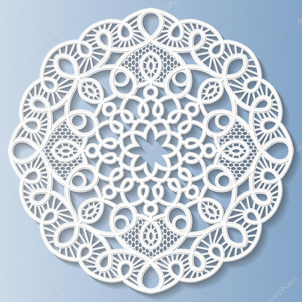 Flor decorativa, copo de nieve, mandala, relieve, patrón de encaje ...