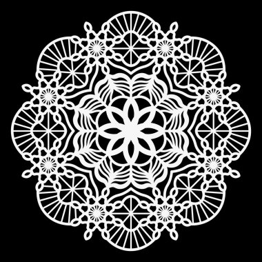 Lace round paper doily, lacy snowflake, greeting element package