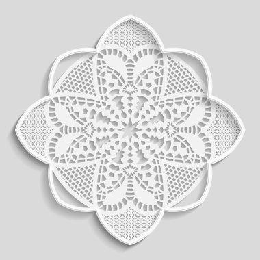 Lacy paper doily, decorative flower, decorative snowflake, mandala, embossed pattern,