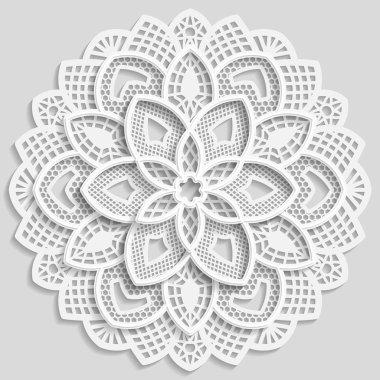 Lacy paper doily, decorative flower, decorative snowflake, lacy mandala, lace pattern, arabic ornament, indian ornament