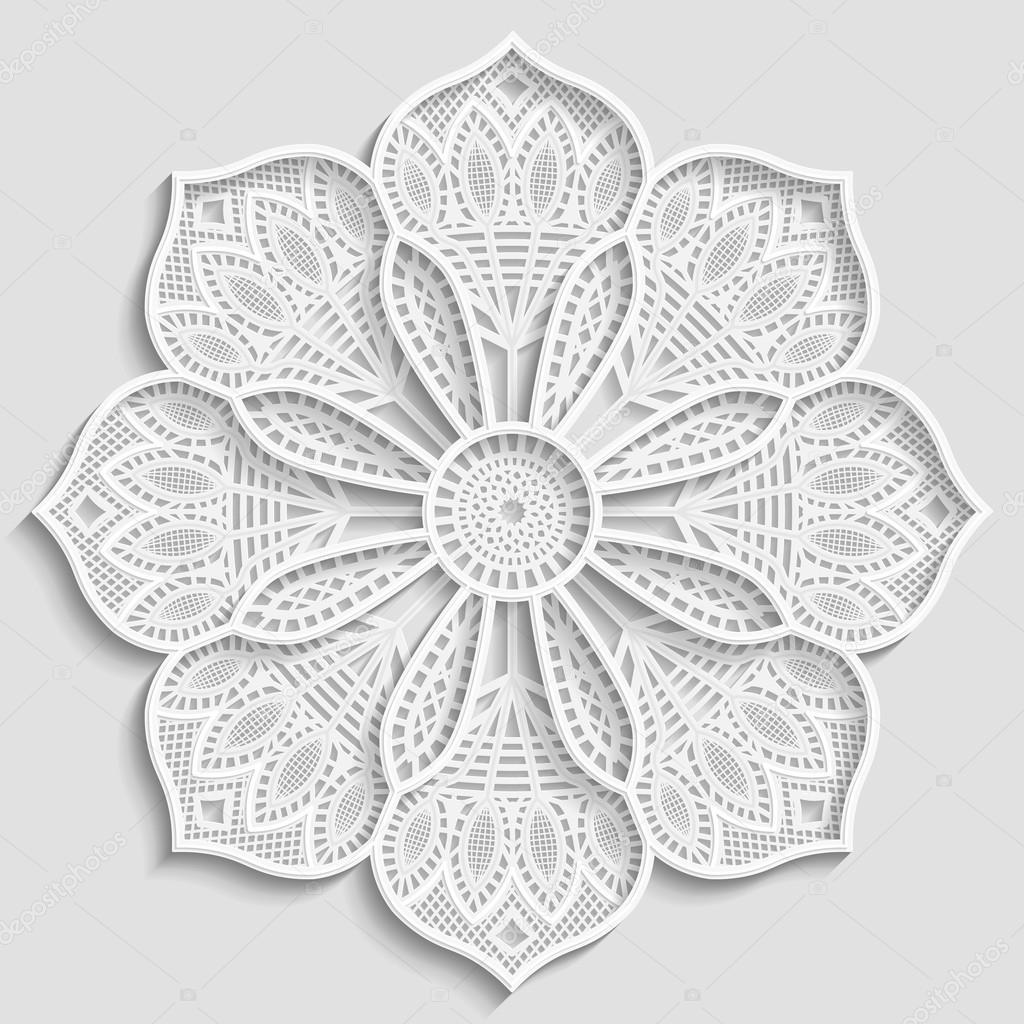 Tapetito de papel encaje, flor decorativa, copo de nieve decorativo ...