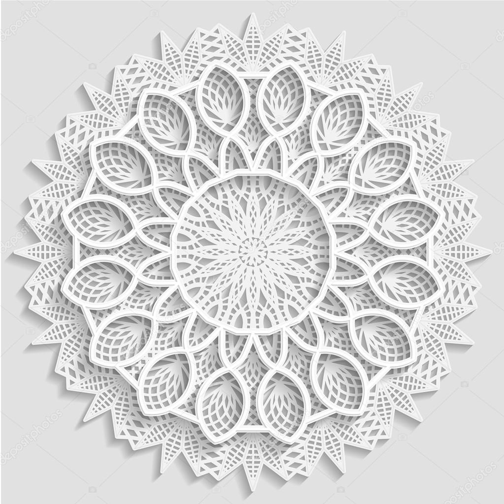 Tapete de encaje de papel, flor decorativa, copo de nieve decorativo ...