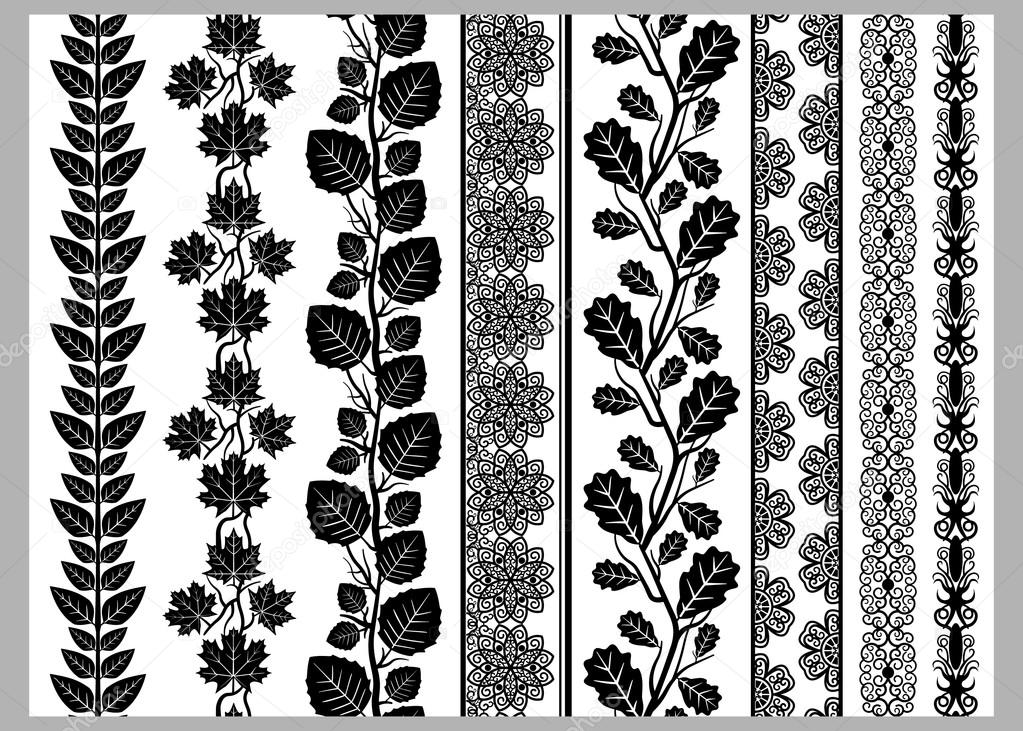 Indian henna border decoration elements patterns in black and white indian henna border decoration elements patterns in black and white colors lace borders vertical vector seamless lace patterns natural pattern flower mightylinksfo