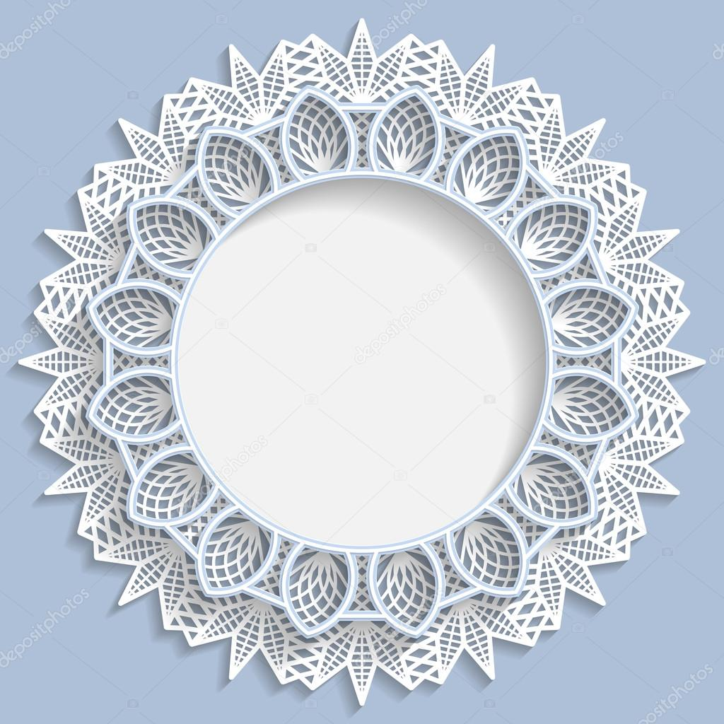 3D flower round frame, vignette with ornaments, lace frame, bas ...