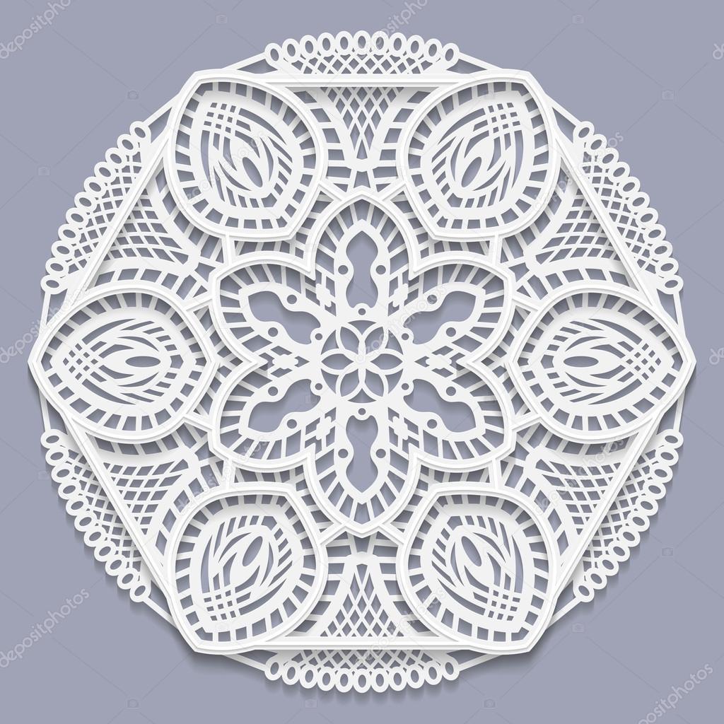 De encaje mandala 3d, flor decorativa, tapetito del cordón, copo de ...