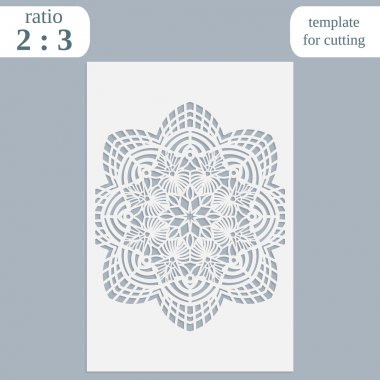 Paper openwork greeting card, template for cutting, lace invitation,  lasercut metal panel, wood carving,