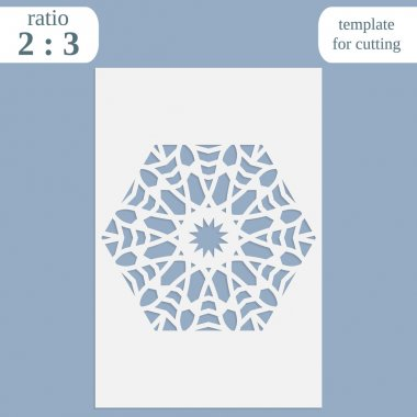Paper openwork greeting card, template for cutting, lace invitation,  lasercut metal panel, wood carving