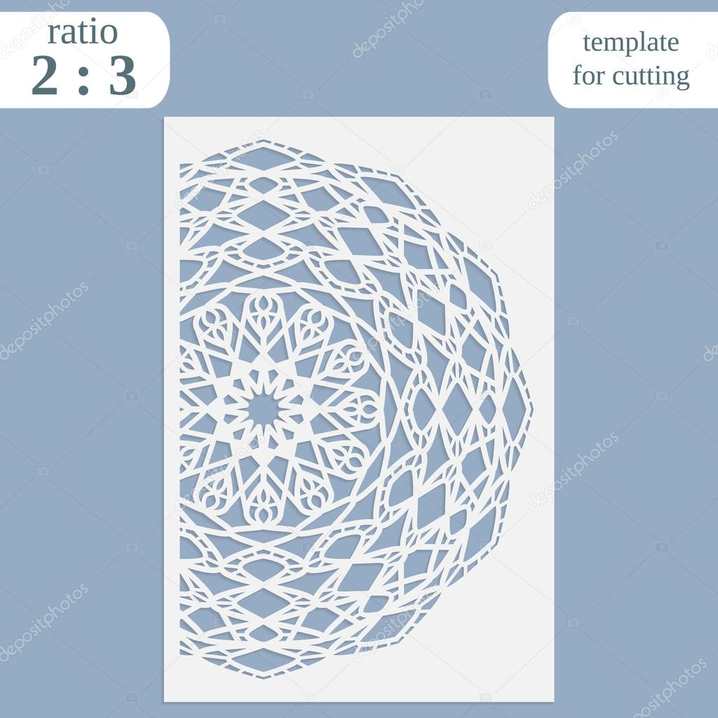 Paper openwork greeting card, template for cutting, lace invitation ...