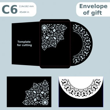 C6 openwork paper converter for romantic messages,template  for cutting, lace pattern, envelope greetings, laser cutting template,  presents packing,