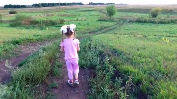 Dítě dívka s brýlemi jde na polní cesty. Cesta klesá do rokle