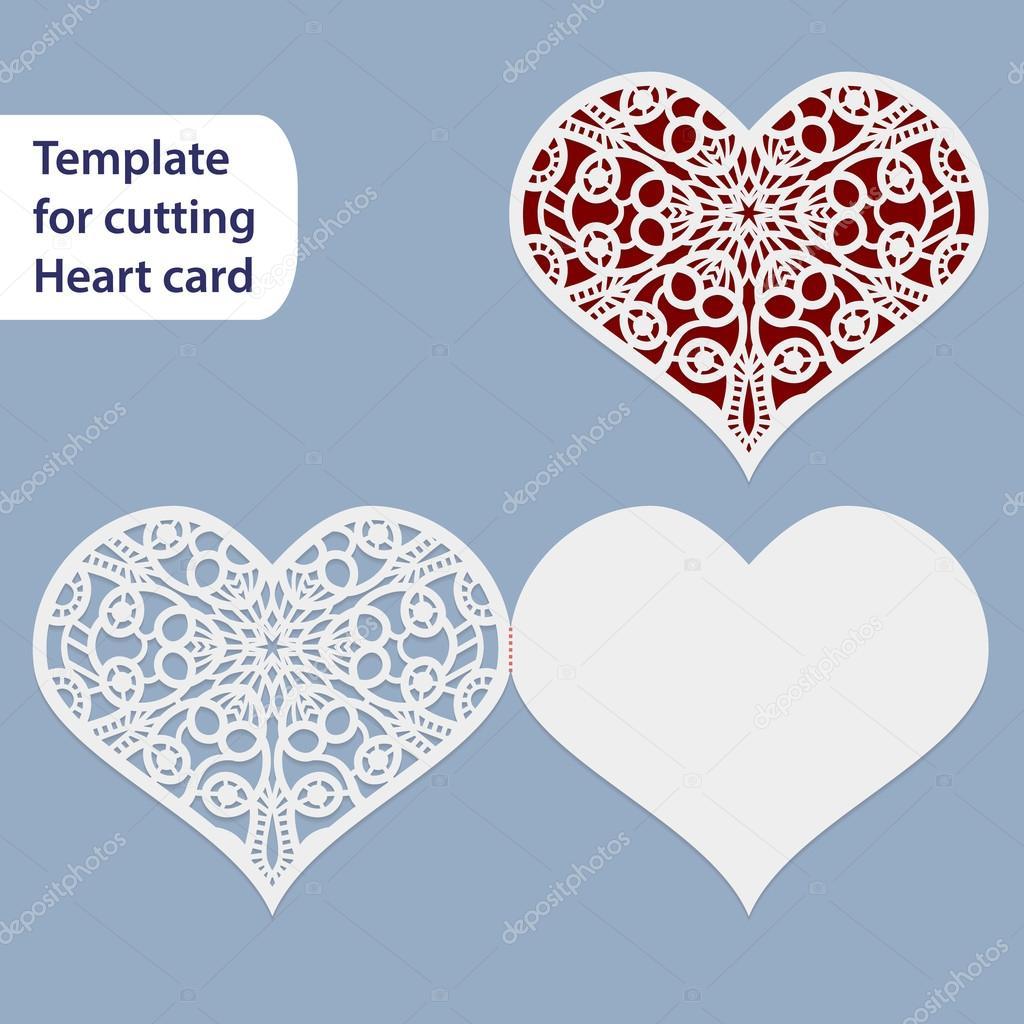 Durchbrochene Hochzeit Papierkarte Herzform Gruß Postkarte