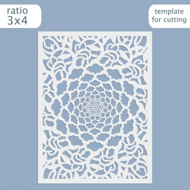 Laser cut wedding invitation card template vector.  Cut out the paper card with lace pattern.  Greeting card template for cutting plotter. Silhouette with flower pattern