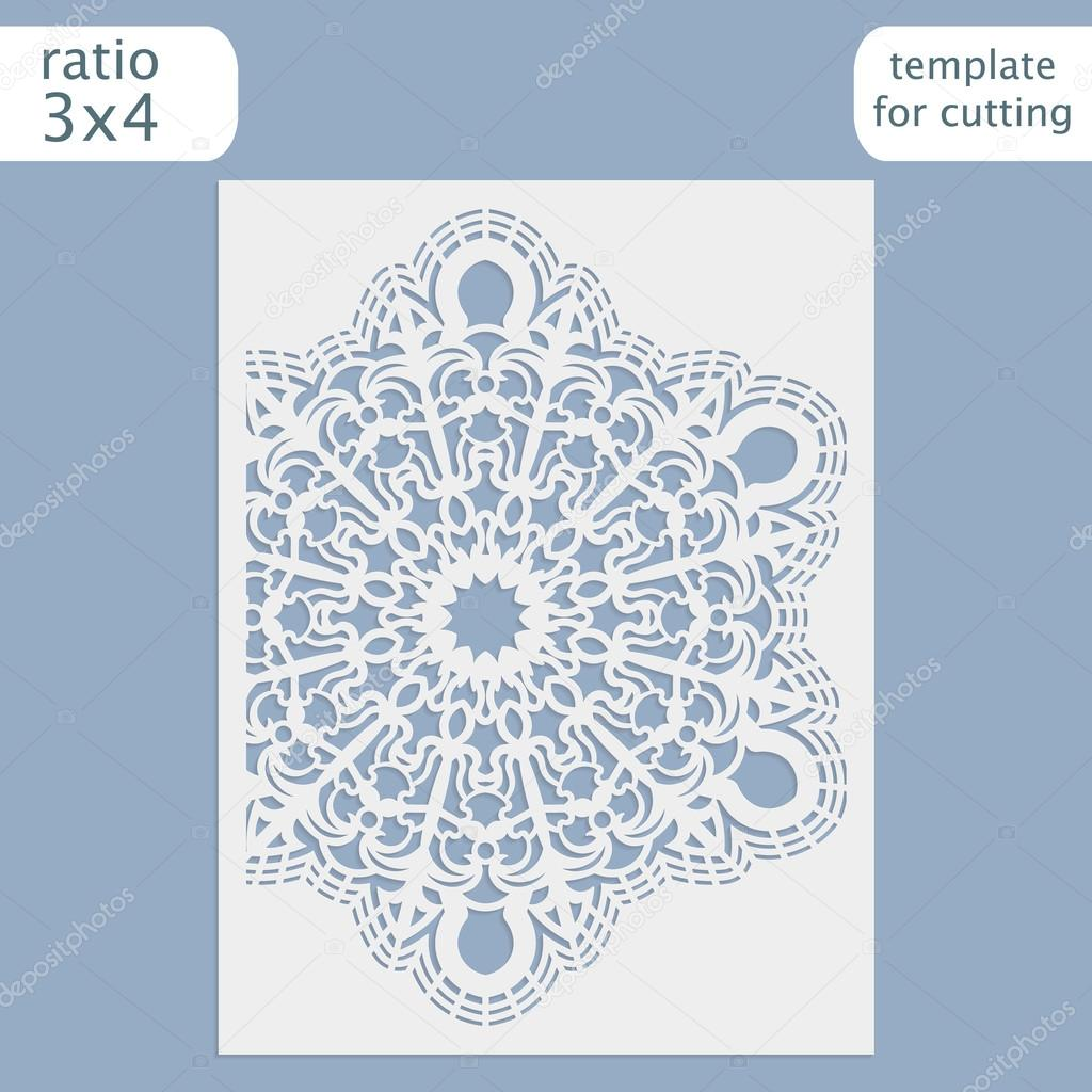 Laser cut wedding invitation card template vector. Cut out the paper ... for Laser Cut Designs Paper  49jwn