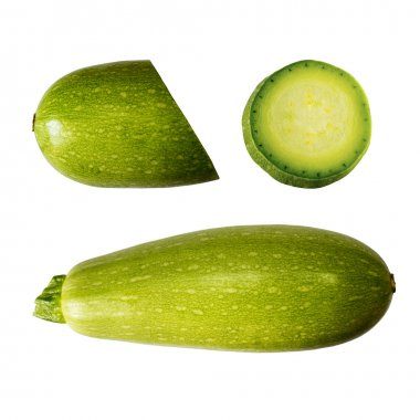 Squash (vegetable marrow)  isolated on white background with clipping path. Closeup with no shadows.  Vegetable.  Food. Eating vegetarian.
