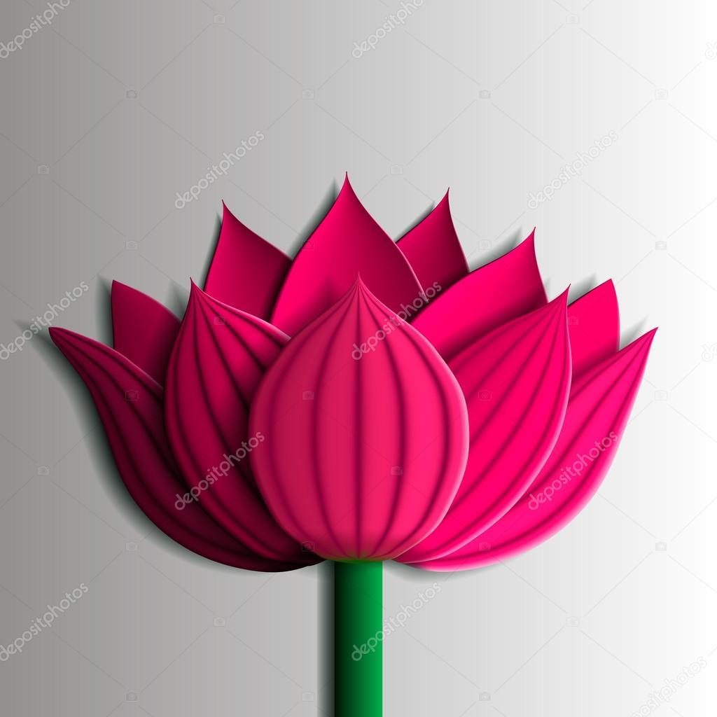 Design elements - pink  lotus flower 3D.