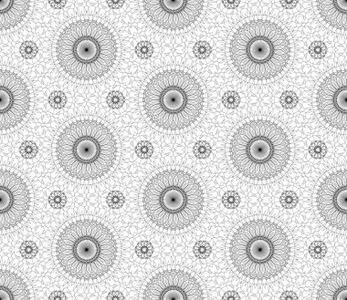 Complicated vector seamless black and white background, texture.
