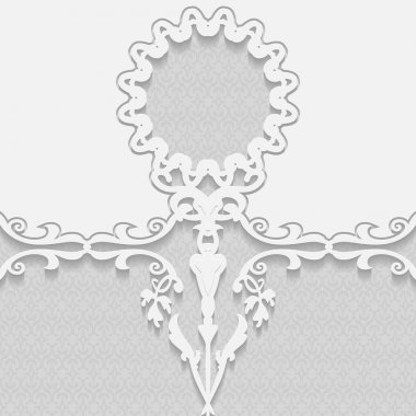 3D embossed white background, frame for pictures, Arabic and Indian ornament, vector EPS10 stock vector
