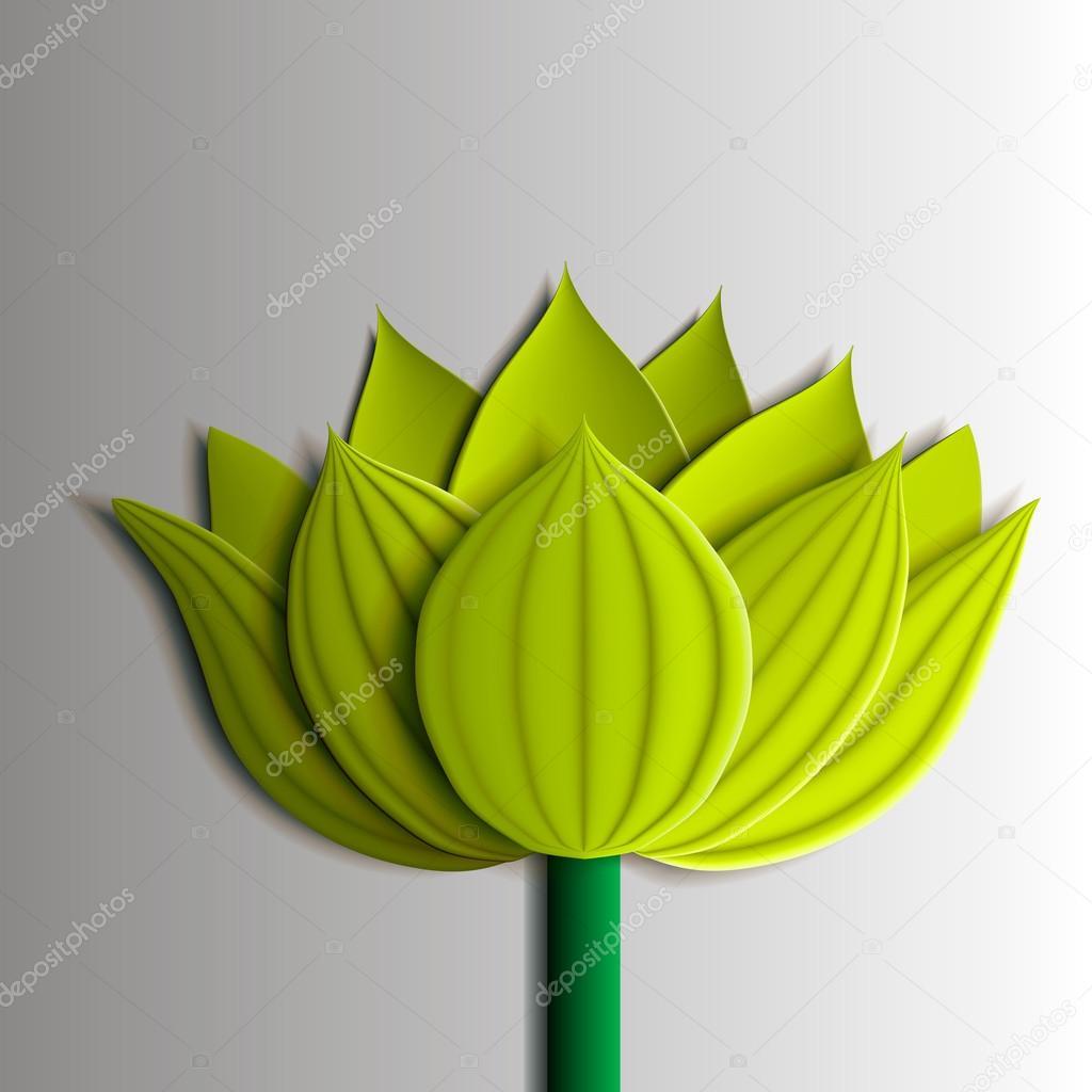 Design elements - yellow  lotus flower 3D.