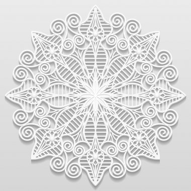 Lacy paper doily, decorative flower, decorative snowflake, mandala